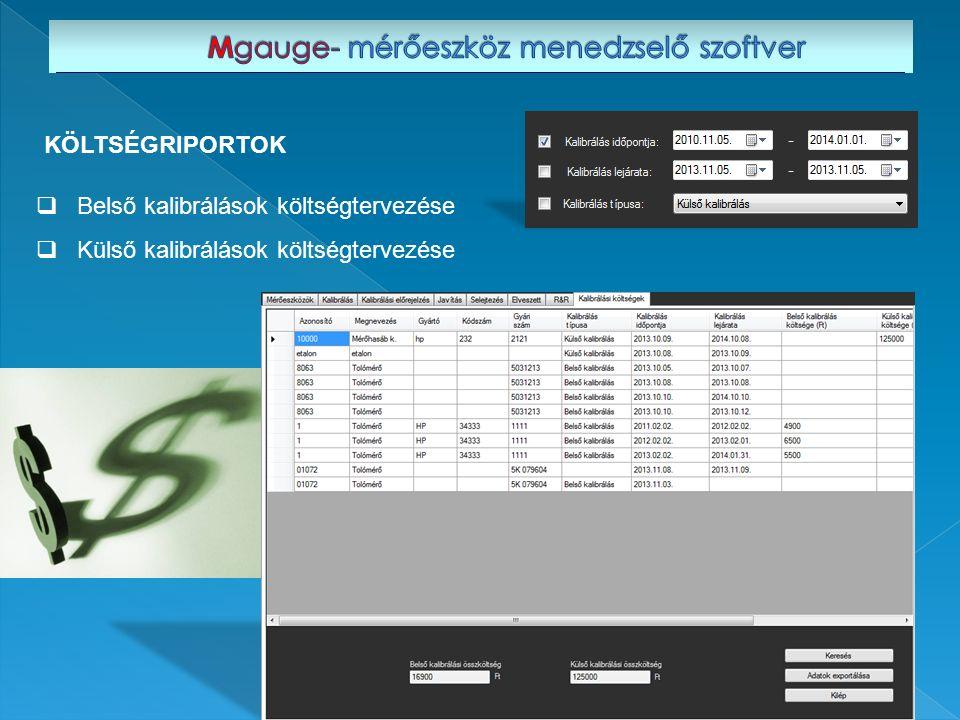  Belső kalibrálások költségtervezése  Külső kalibrálások költségtervezése KÖLTSÉGRIPORTOK