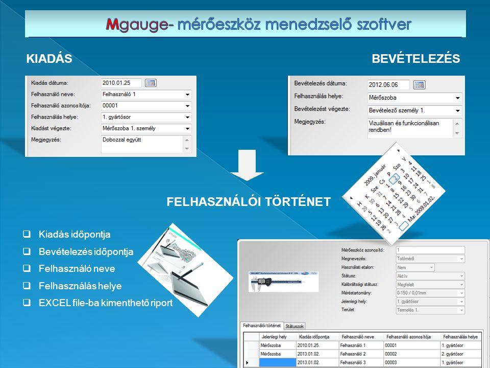  Kiadás időpontja  Bevételezés időpontja  Felhasználó neve  Felhasználás helye  EXCEL file-ba kimenthető riport KIADÁSBEVÉTELEZÉS FELHASZNÁLÓI TÖ