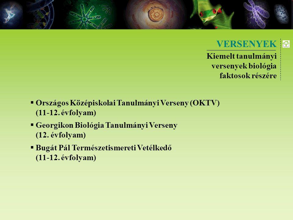 VERSENYEK Kiemelt tanulmányi versenyek biológia faktosok részére  Országos Középiskolai Tanulmányi Verseny (OKTV) (11-12. évfolyam)  Georgikon Bioló