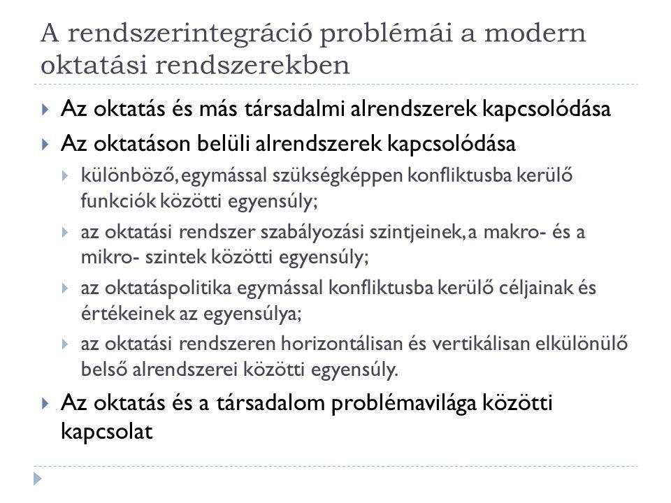 A rendszerintegráció problémái a modern oktatási rendszerekben  Az oktatás és más társadalmi alrendszerek kapcsolódása  Az oktatáson belüli alrendszerek kapcsolódása  különböző, egymással szükségképpen konfliktusba kerülő funkciók közötti egyensúly;  az oktatási rendszer szabályozási szintjeinek, a makro- és a mikro- szintek közötti egyensúly;  az oktatáspolitika egymással konfliktusba kerülő céljainak és értékeinek az egyensúlya;  az oktatási rendszeren horizontálisan és vertikálisan elkülönülő belső alrendszerei közötti egyensúly.