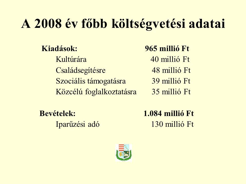 A 2008 év főbb költségvetési adatai Kiadások: 965 millió Ft Kultúrára 40 millió Ft Családsegítésre 48 millió Ft Szociális támogatásra 39 millió Ft Közcélú foglalkoztatásra 35 millió Ft Bevételek: 1.084 millió Ft Iparűzési adó 130 millió Ft
