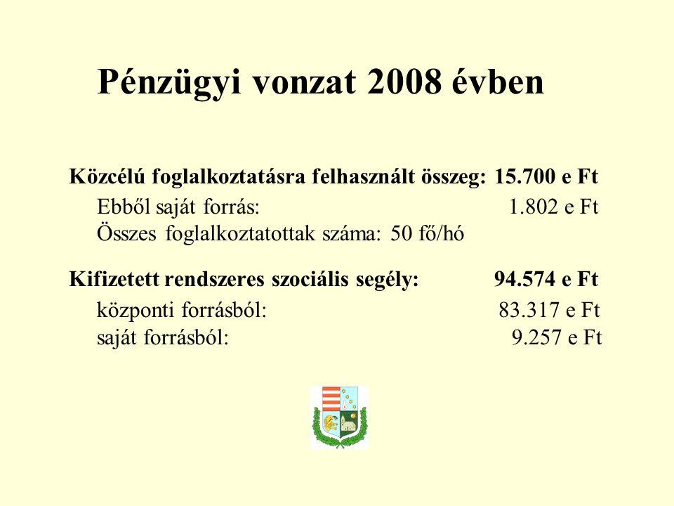 Pénzügyi vonzat 2008 évben Közcélú foglalkoztatásra felhasznált összeg: 15.700 e Ft Ebből saját forrás: 1.802 e Ft Összes foglalkoztatottak száma: 50 fő/hó Kifizetett rendszeres szociális segély: 94.574 e Ft központi forrásból: 83.317 e Ft saját forrásból: 9.257 e Ft