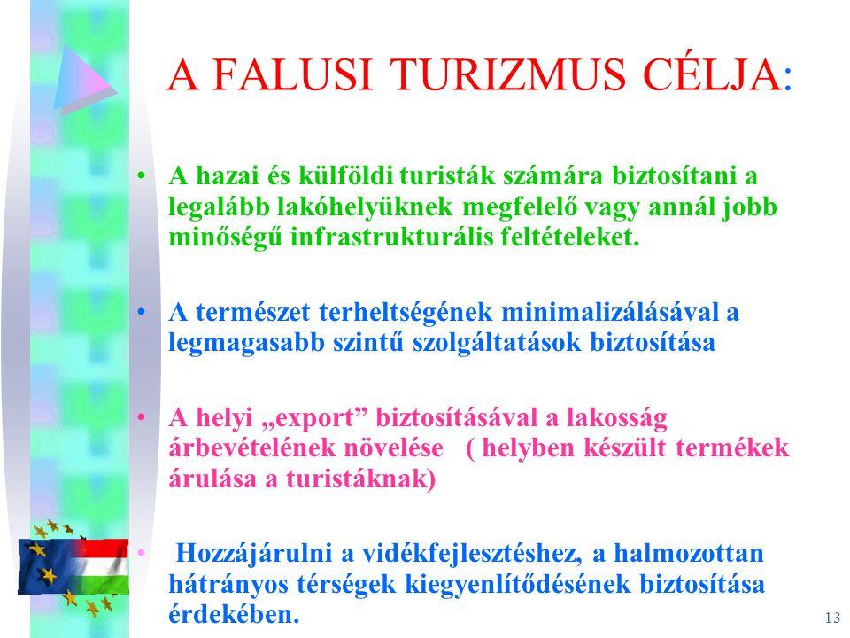 13 A FALUSI TURIZMUS CÉLJA: A hazai és külföldi turisták számára biztosítani a legalább lakóhelyüknek megfelelő vagy annál jobb minőségű infrastruktur
