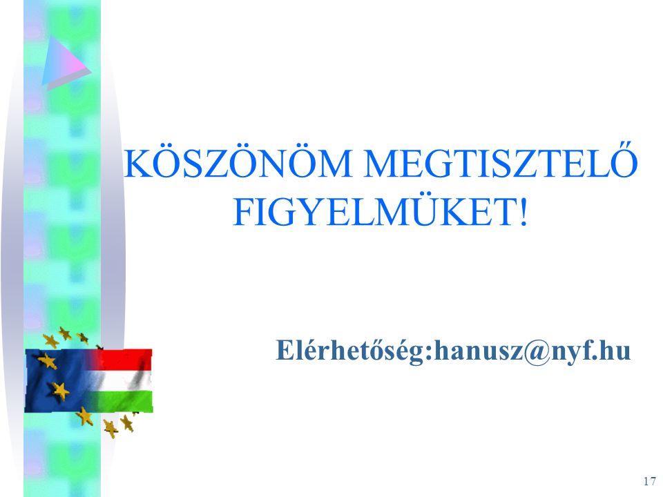 17 KÖSZÖNÖM MEGTISZTELŐ FIGYELMÜKET! Elérhetőség:hanusz@nyf.hu