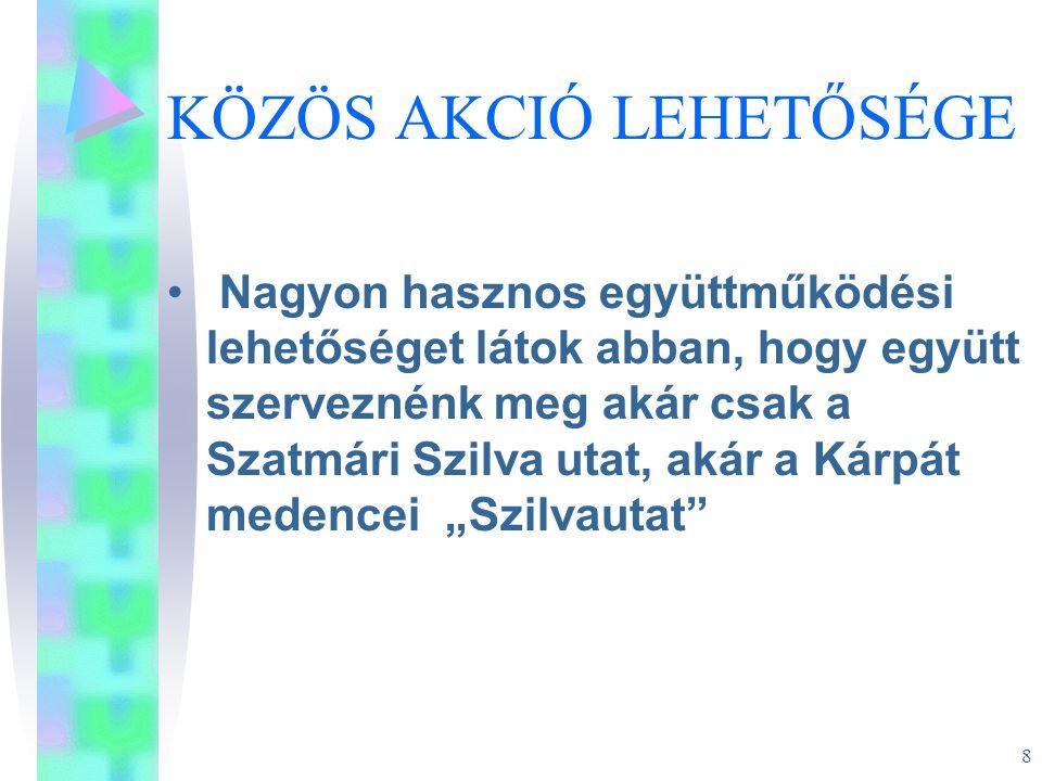 9 KÖZÖS AKCIÓ LEHETŐSÉGE Csenger város tervezi kis merülésű elektromos tutajok működtetését Szatmárnémeti és Mátészalka között.
