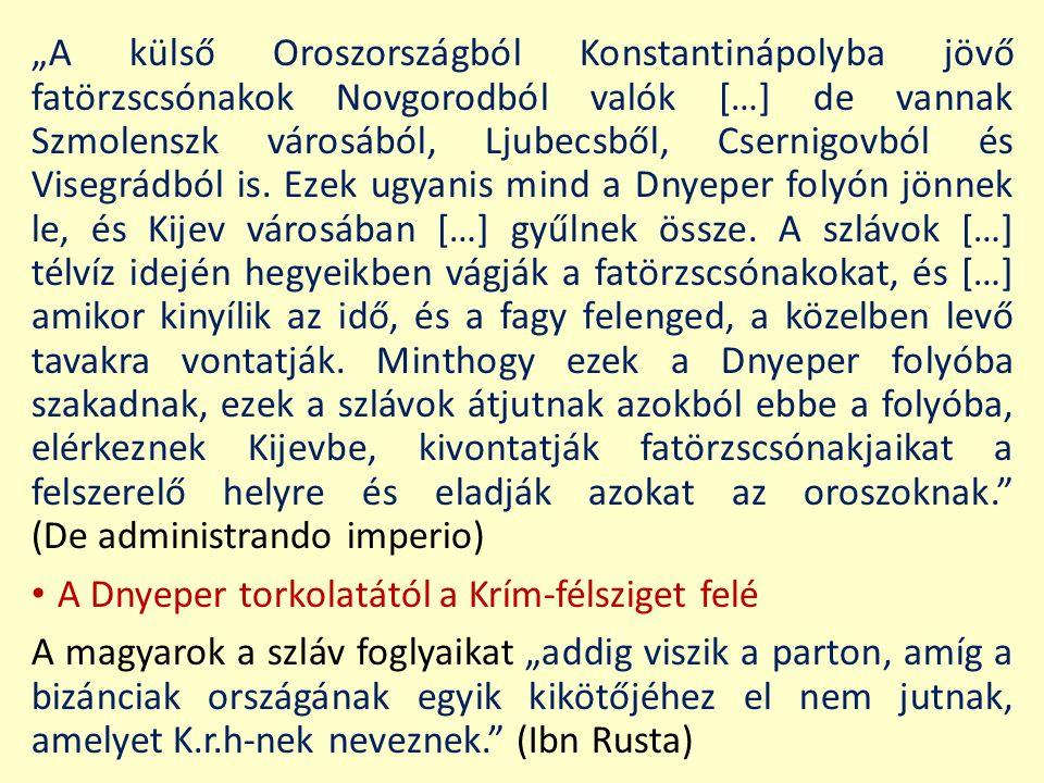 """""""A külső Oroszországból Konstantinápolyba jövő fatörzscsónakok Novgorodból valók […] de vannak Szmolenszk városából, Ljubecsből, Csernigovból és Viseg"""