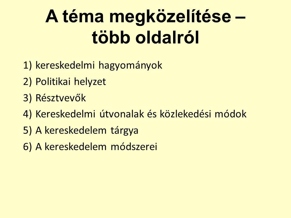1)kereskedelmi hagyományok 2)Politikai helyzet 3)Résztvevők 4)Kereskedelmi útvonalak és közlekedési módok 5)A kereskedelem tárgya 6)A kereskedelem mód