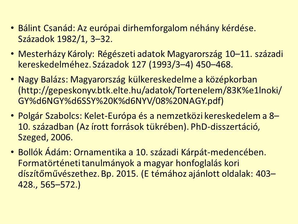 Bálint Csanád: Az európai dirhemforgalom néhány kérdése. Századok 1982/1, 3–32. Mesterházy Károly: Régészeti adatok Magyarország 10–11. századi keresk