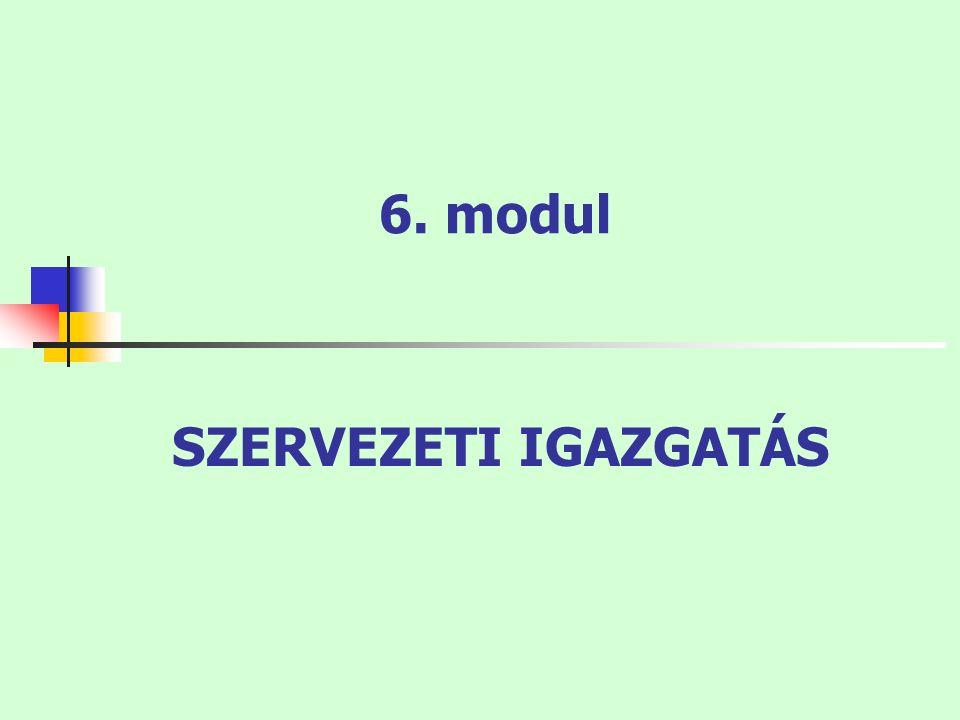 6. modul SZERVEZETI IGAZGATÁS