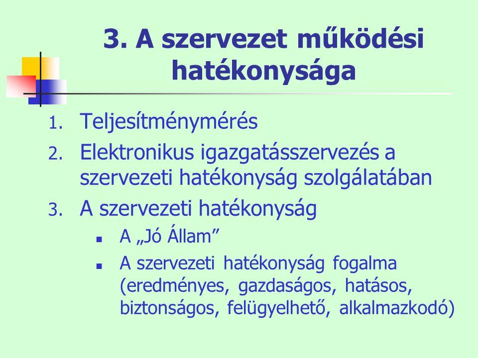 3. A szervezet működési hatékonysága 1. Teljesítménymérés 2. Elektronikus igazgatásszervezés a szervezeti hatékonyság szolgálatában 3. A szervezeti ha