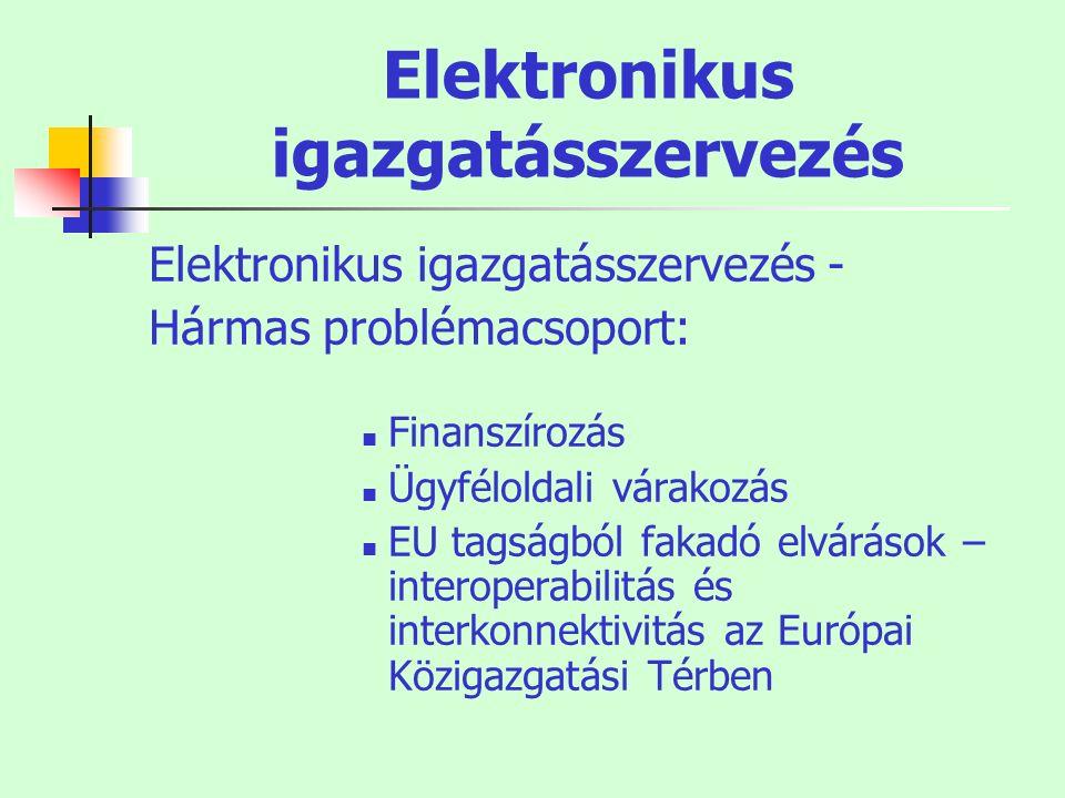 Elektronikus igazgatásszervezés Elektronikus igazgatásszervezés - Hármas problémacsoport: Finanszírozás Ügyféloldali várakozás EU tagságból fakadó elv