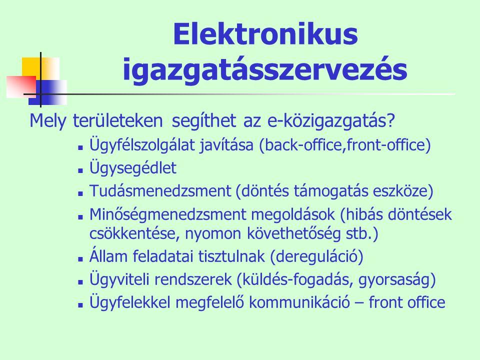 Elektronikus igazgatásszervezés Mely területeken segíthet az e-közigazgatás? Ügyfélszolgálat javítása (back-office,front-office) Ügysegédlet Tudásmene