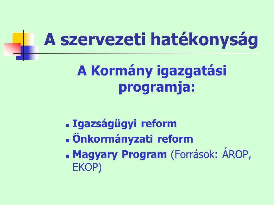 A szervezeti hatékonyság A Kormány igazgatási programja: Igazságügyi reform Önkormányzati reform Magyary Program (Források: ÁROP, EKOP)