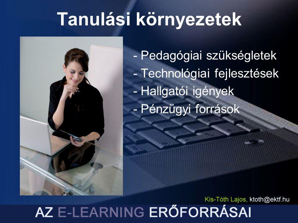 - Pedagógiai szükségletek - Technológiai fejlesztések - Hallgatói igények - Pénzügyi források Tanulási környezetek