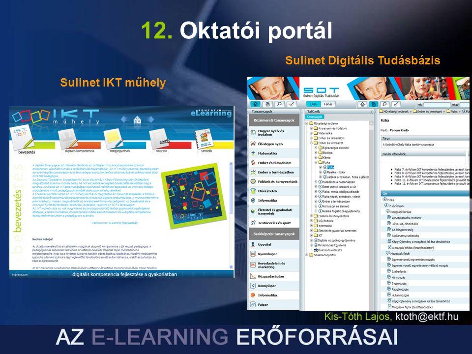 12. Oktatói portál Sulinet IKT műhely Sulinet Digitális Tudásbázis