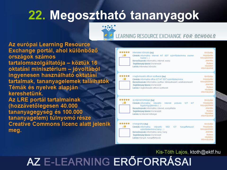 22. Megosztható tananyagok Az európai Learning Resource Exchange portál, ahol különbőző országok számos tartalomszolgáltatója – köztük 16 oktatási min