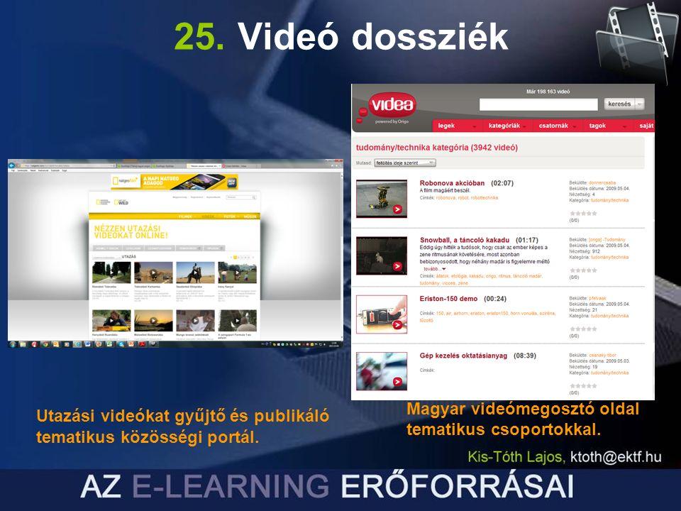 25. Videó dossziék Utazási videókat gyűjtő és publikáló tematikus közösségi portál.