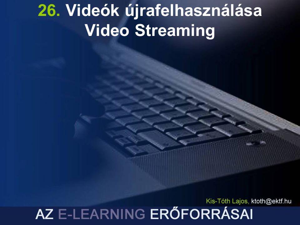 26. Videók újrafelhasználása Video Streaming
