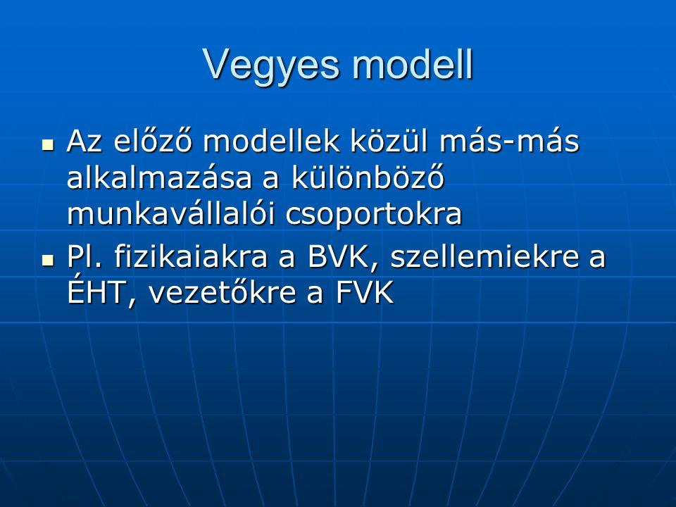 Vegyes modell Az előző modellek közül más-más alkalmazása a különböző munkavállalói csoportokra Az előző modellek közül más-más alkalmazása a különböző munkavállalói csoportokra Pl.