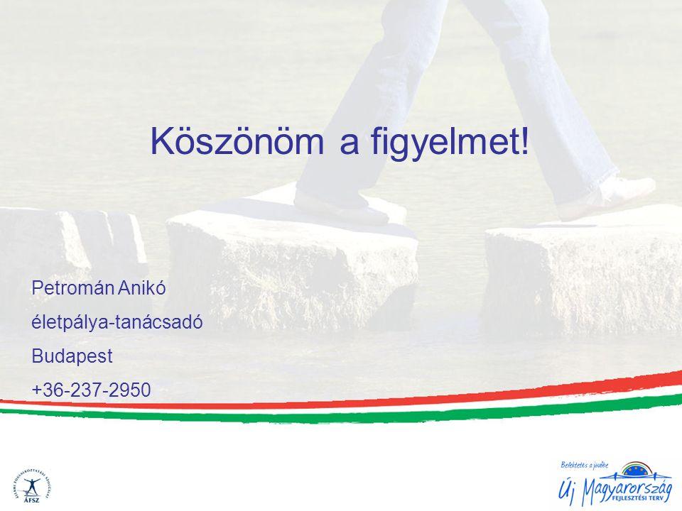 Köszönöm a figyelmet! Petromán Anikó életpálya-tanácsadó Budapest +36-237-2950
