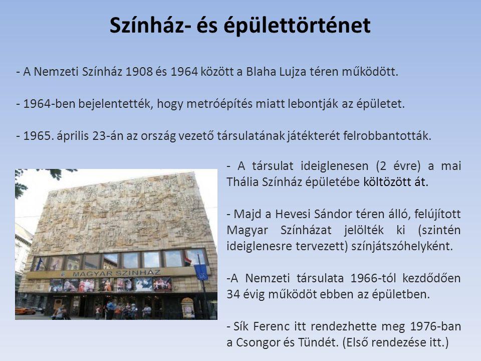 - A Nemzeti Színház 1908 és 1964 között a Blaha Lujza téren működött. - 1964-ben bejelentették, hogy metróépítés miatt lebontják az épületet. - 1965.