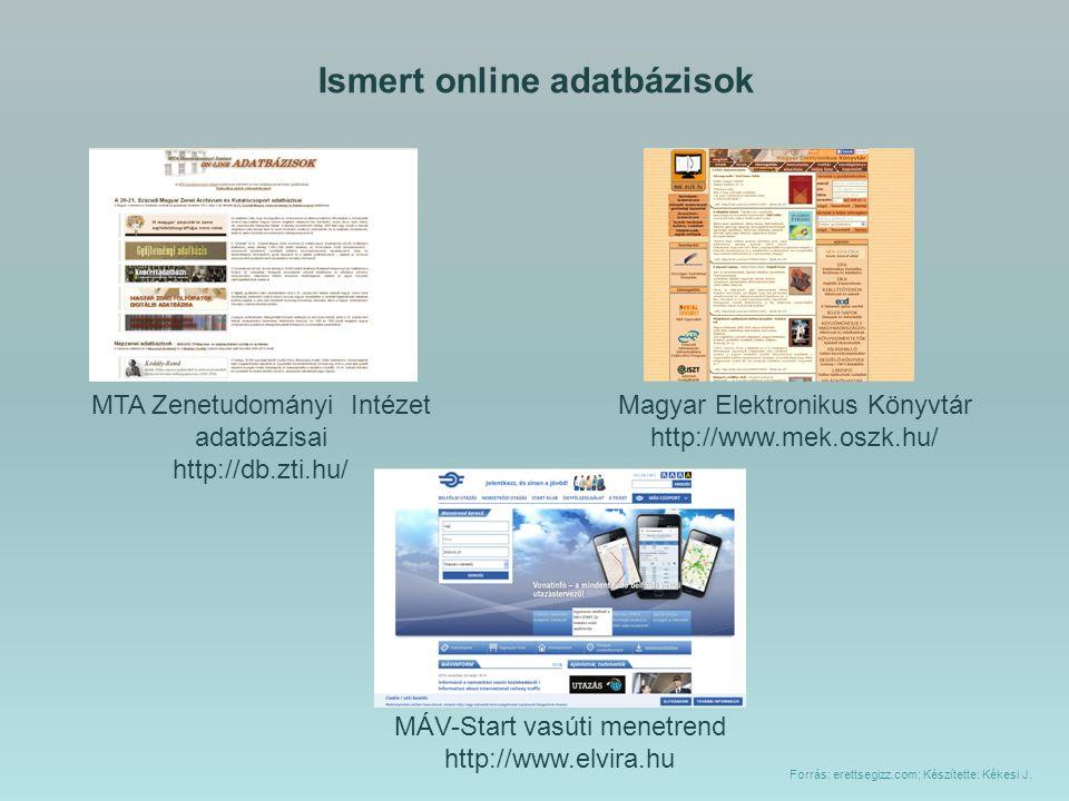 Ismert online adatbázisok Magyar Elektronikus Könyvtár http://www.mek.oszk.hu/ MTA Zenetudományi Intézet adatbázisai http://db.zti.hu/ MÁV-Start vasút