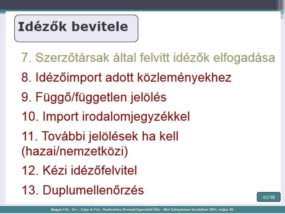 12/18 Magyar Fül-, Orr-, Gége és Fej-, Nyaksebész Orvosok Egyesületi Ülés – Mini Szimpózium keretében 2014.
