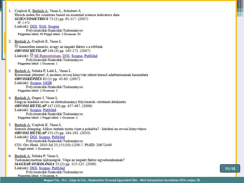 15/18 Magyar Fül-, Orr-, Gége és Fej-, Nyaksebész Orvosok Egyesületi Ülés – Mini Szimpózium keretében 2014. május 30.
