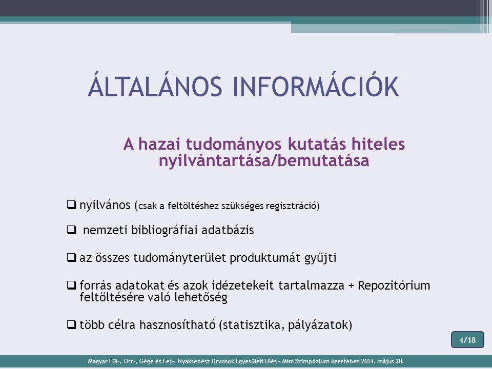 ÁLTALÁNOS INFORMÁCIÓK A hazai tudományos kutatás hiteles nyilvántartása/bemutatása  nyilvános ( csak a feltöltéshez szükséges regisztráció)  nemzeti bibliográfiai adatbázis  az összes tudományterület produktumát gyűjti  forrás adatokat és azok idézetekeit tartalmazza + Repozitórium feltöltésére való lehetőség  több célra hasznosítható (statisztika, pályázatok) Magyar Fül-, Orr-, Gége és Fej-, Nyaksebész Orvosok Egyesületi Ülés – Mini Szimpózium keretében 2014.