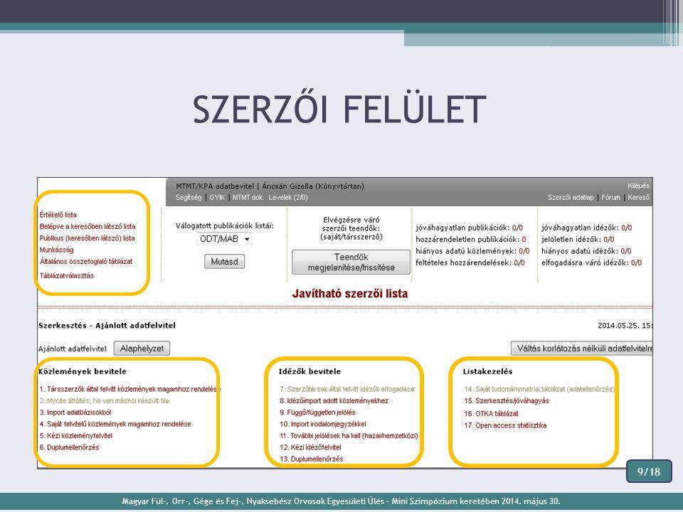 SZERZŐI FELÜLET Magyar Fül-, Orr-, Gége és Fej-, Nyaksebész Orvosok Egyesületi Ülés – Mini Szimpózium keretében 2014. május 30. 9/18