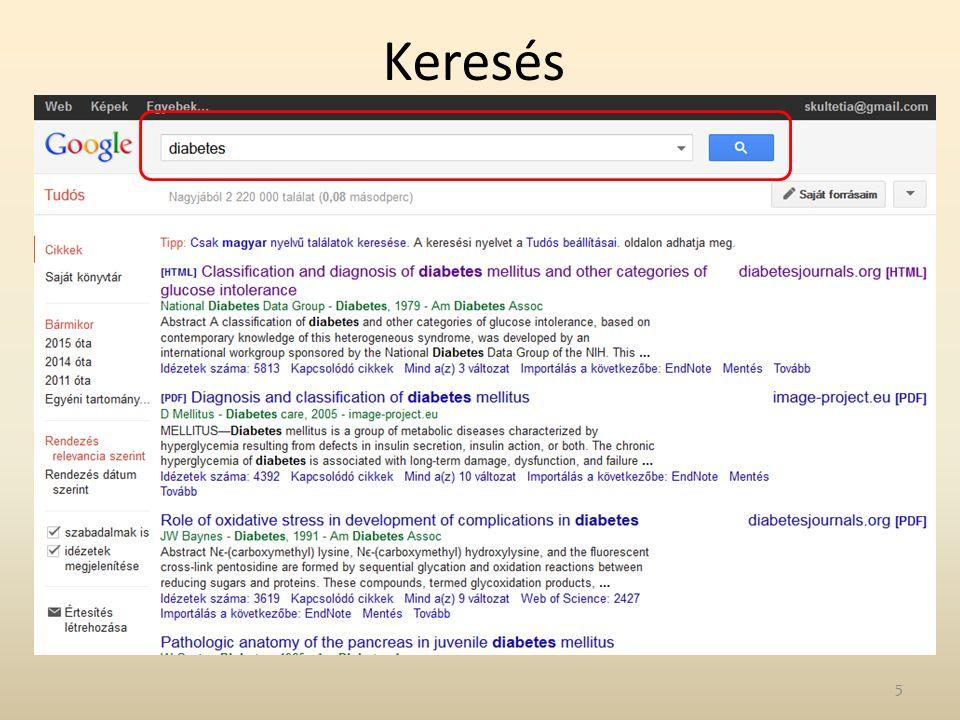 """Keresési gyakorlatok 1.Keressen rá """"Ligeti E szerző 2013-2014 között megjelent közleményeire a Google Scholar adatbázisban."""
