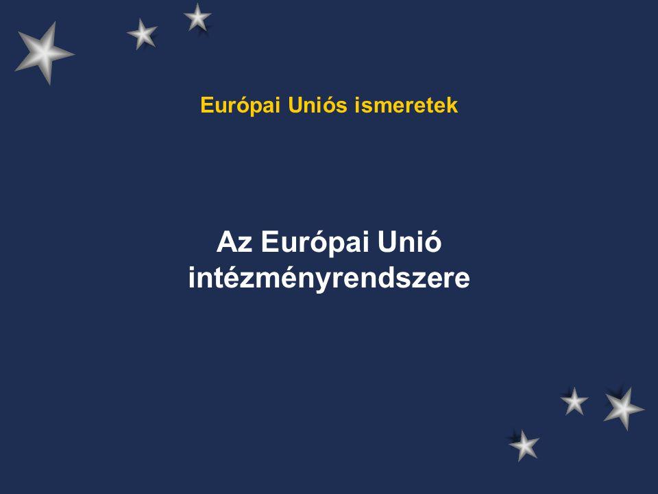 """Az Európai Unió Tanácsa (Miniszterek Tanácsa) székhely: Brüsszel összetétele napirend szerint változik fő döntéshozó, jogalkotó tagállamok és nemzeti érdekek képviselete részvétel a kormányközi együttműködésben közösségi törvények kidolgozása költségvetési döntés az EP-vel összetétel alapján 3 csoportra bontható –ECOFIN, Külügy, Agrár – havonta –Ágazati tanácsok –""""jumbo ülések egyhangúság mellett érvényesül az egyszerű (50%+1) és a minősített többségi döntés (345 szavazatból 255 - Mo.: 12) elve is"""