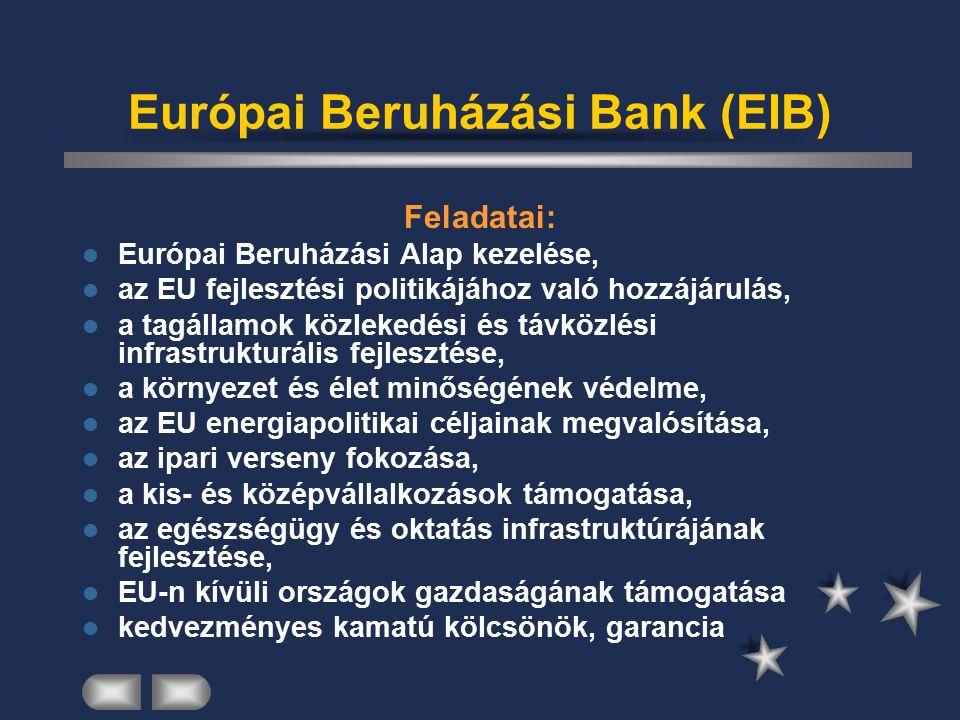 Európai Központi Bank (ECB) székhelye: Frankfurt am Main ECB+Jegybankok= ESCB (Központi Bankok Európai Rendszere) független alaptőkéje: tagállamoktól szervei: Kormányzótanács Igazgatóság Általános Tanács