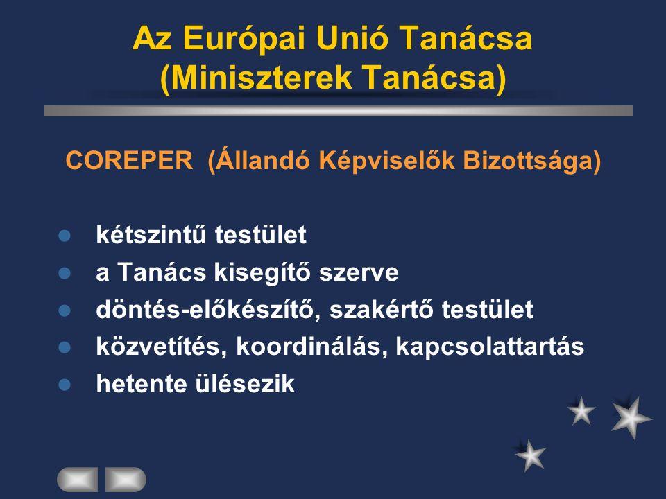 Európai Tanács állam- és kormányfők tanácsa székhelye: Brüsszel jogszabályt nem alkot stratégiai kérdések tagállamok közötti nézeteltérések soros elnökség 2008: Szlovénia, Franciaország Magyarország: 2011 első félév