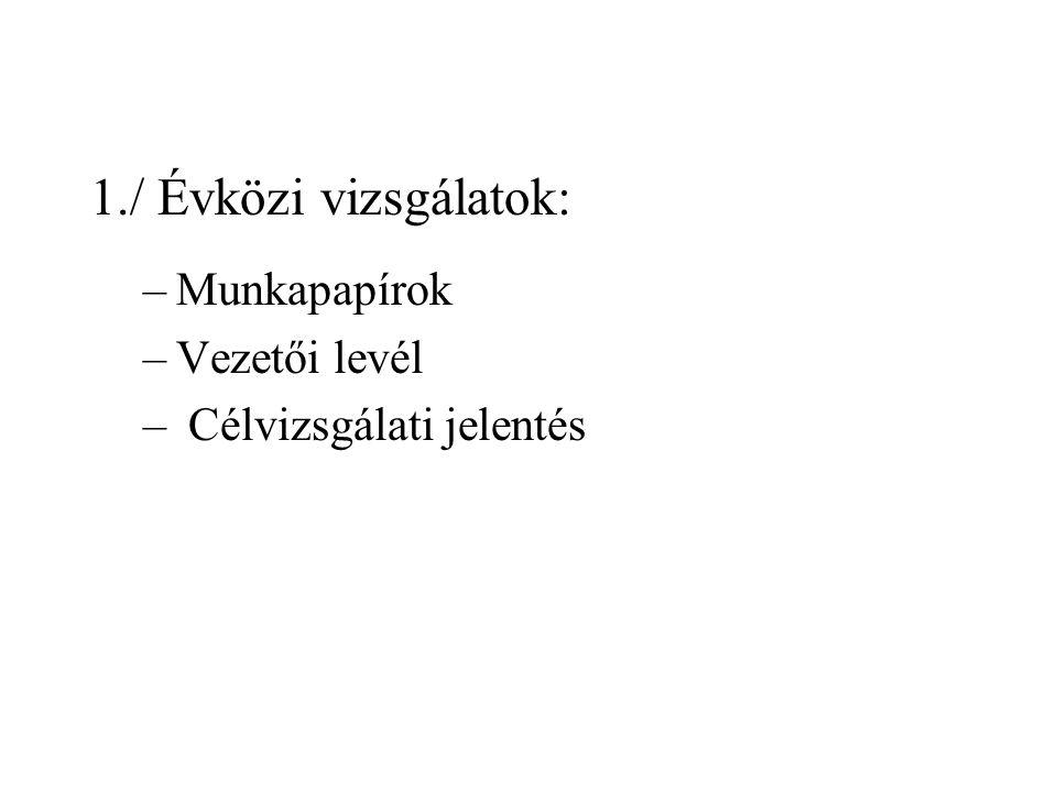1./ Évközi vizsgálatok: –Munkapapírok –Vezetői levél – Célvizsgálati jelentés