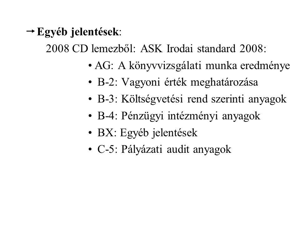  Egyéb jelentések: 2008 CD lemezből: ASK Irodai standard 2008: AG: A könyvvizsgálati munka eredménye B-2: Vagyoni érték meghatározása B-3: Költségvetési rend szerinti anyagok B-4: Pénzügyi intézményi anyagok BX: Egyéb jelentések C-5: Pályázati audit anyagok