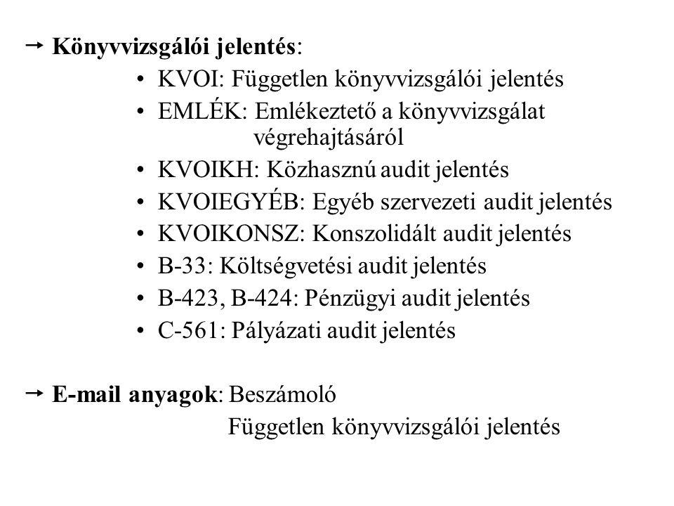  Könyvvizsgálói jelentés : KVOI: Független könyvvizsgálói jelentés EMLÉK: Emlékeztető a könyvvizsgálat végrehajtásáról KVOIKH: Közhasznú audit jelentés KVOIEGYÉB: Egyéb szervezeti audit jelentés KVOIKONSZ: Konszolidált audit jelentés B-33: Költségvetési audit jelentés B-423, B-424: Pénzügyi audit jelentés C-561: Pályázati audit jelentés  E-mail anyagok: Beszámoló Független könyvvizsgálói jelentés