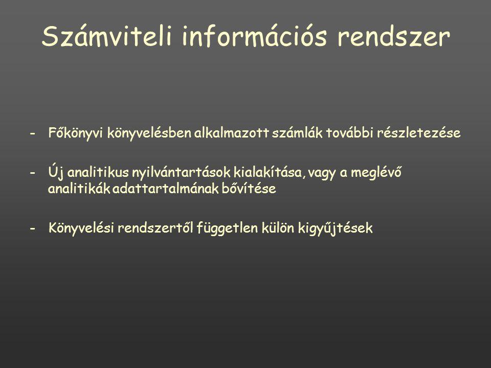 Számviteli információs rendszer -Főkönyvi könyvelésben alkalmazott számlák további részletezése -Új analitikus nyilvántartások kialakítása, vagy a meglévő analitikák adattartalmának bővítése -Könyvelési rendszertől független külön kigyűjtések
