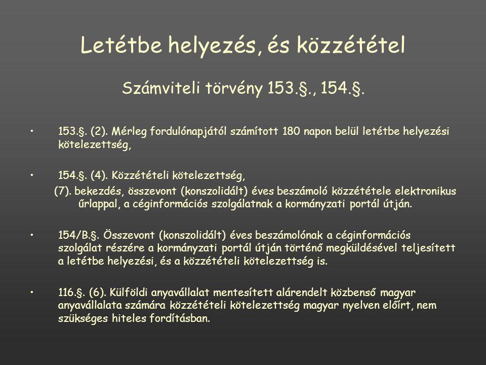 Letétbe helyezés, és közzététel Számviteli törvény 153.§., 154.§.