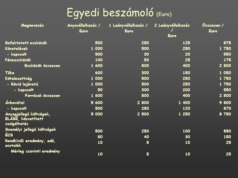 Egyedi beszámoló (Euro) MegnevezésAnyavállalkozás / Euro 1 Leányvállalkozás / Euro 2 Leányvállalkozás / Euro Összesen / Euro Befektetett eszközök Követelések - kapcsolt Pénzeszközök Eszközök összesen 500 1 000 500 100 1 600 250 500 30 50 800 125 250 20 25 400 875 1 750 550 175 2 800 Tőke Kötelezettség - Rövid lejáratú - kapcsolt Források összesen 600 1 000 50 1 600 300 500 300 800 150 250 200 400 1 050 1 750 550 2 800 Árbevétel - kapcsolt Anyagjellegű költségek, ELÁBÉ, közvetített szolgáltatás Személyi jellegű költségek ÉCS Rendkívüli eredmény, adó, osztalék Mérleg szerinti eredmény 5 600 500 5 000 500 80 10 2 800 250 2 500 250 40 5 1 400 120 1 250 100 30 10 9 800 870 8 750 850 150 25