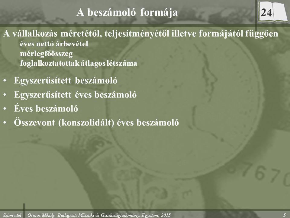Számvitel Ormos Mihály, Budapesti Műszaki és Gazdaságtudományi Egyetem, 2015. 5 A beszámoló formája A vállalkozás méretétől, teljesítményétől illetve