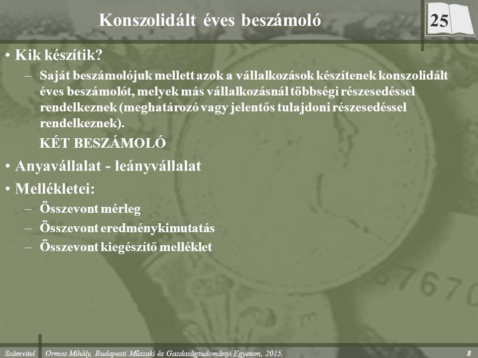Számvitel Ormos Mihály, Budapesti Műszaki és Gazdaságtudományi Egyetem, 2015. 8 Konszolidált éves beszámoló Kik készítik? –Saját beszámolójuk mellett