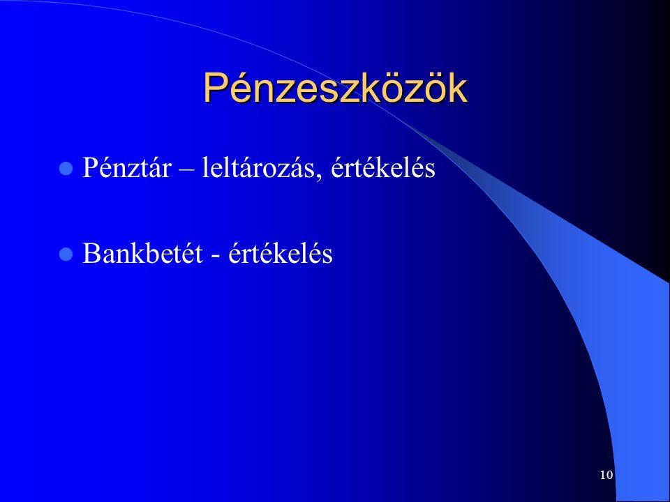 10 Pénzeszközök Pénztár – leltározás, értékelés Bankbetét - értékelés