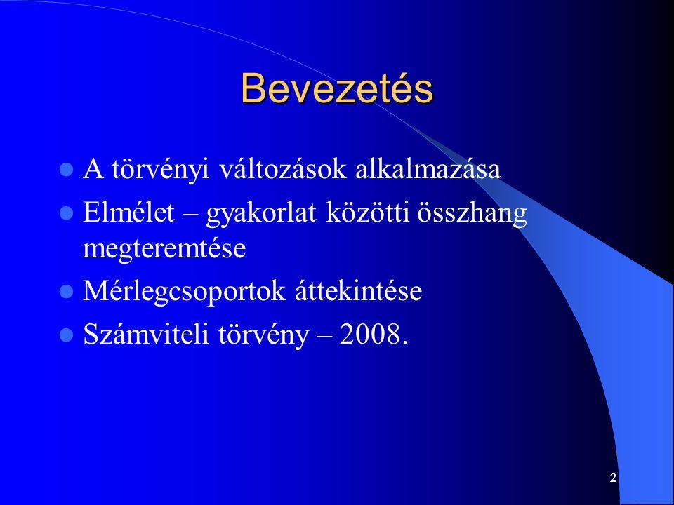 2 Bevezetés A törvényi változások alkalmazása Elmélet – gyakorlat közötti összhang megteremtése Mérlegcsoportok áttekintése Számviteli törvény – 2008.