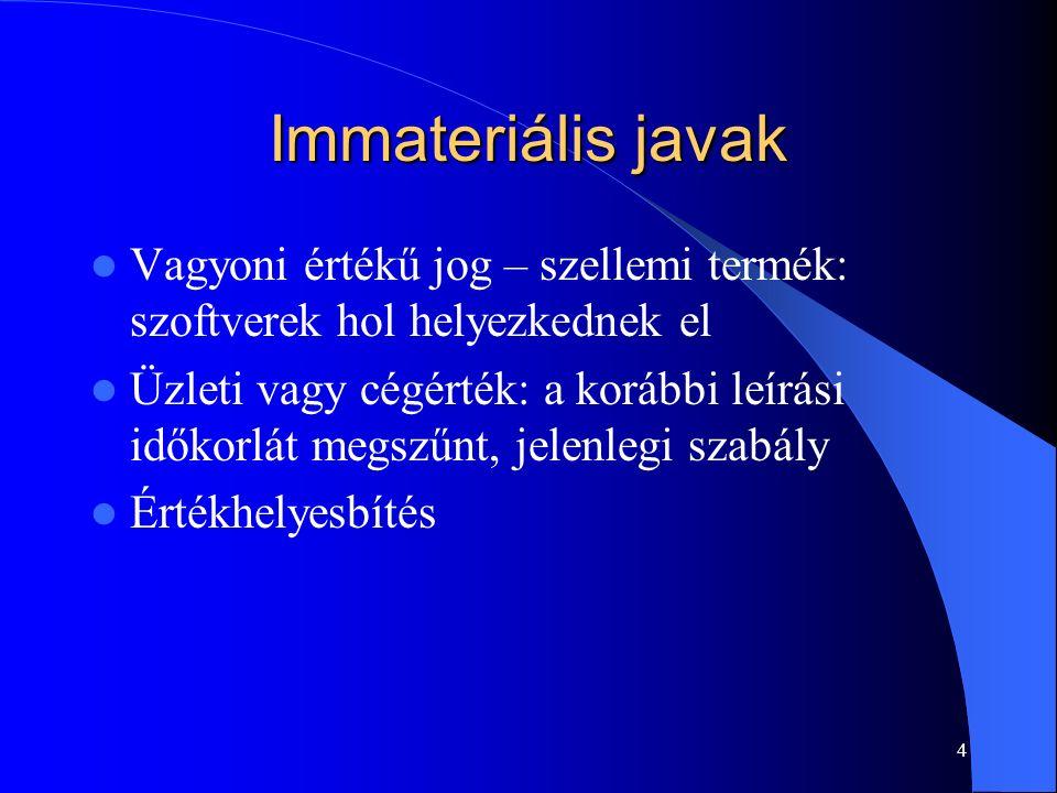 4 Immateriális javak Vagyoni értékű jog – szellemi termék: szoftverek hol helyezkednek el Üzleti vagy cégérték: a korábbi leírási időkorlát megszűnt,