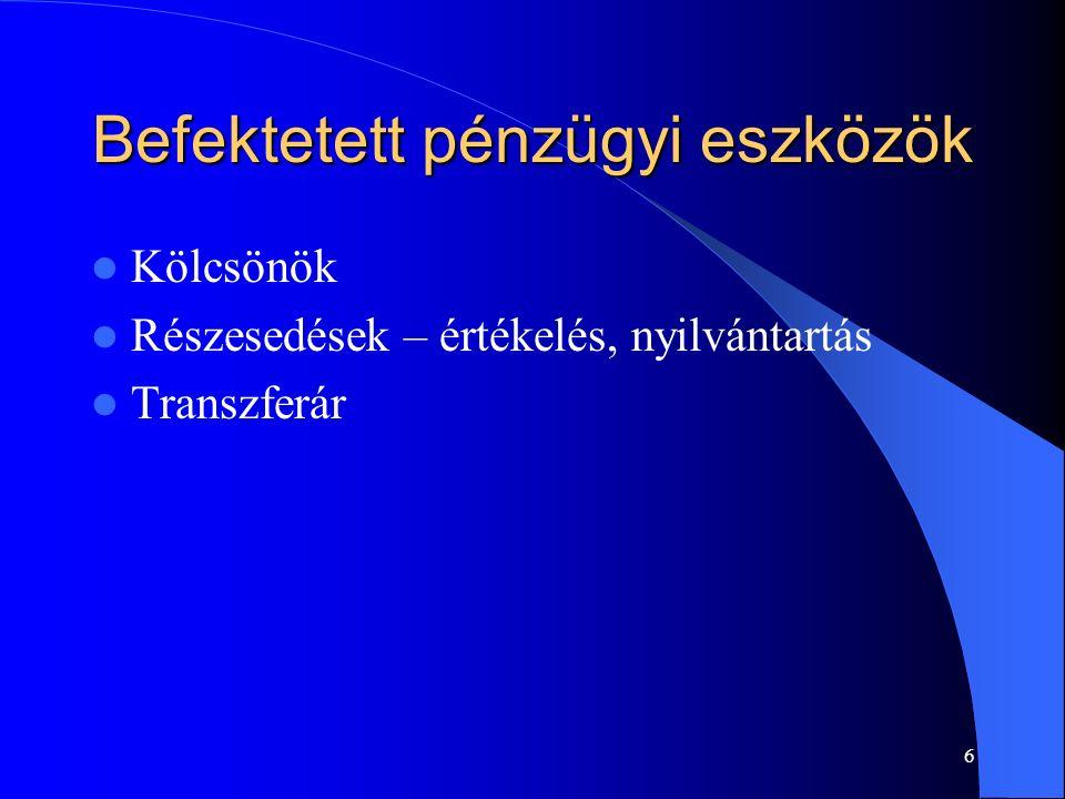 17 Kisösszegű követelések értékvesztése Beszámoló közzététele elektronikusan