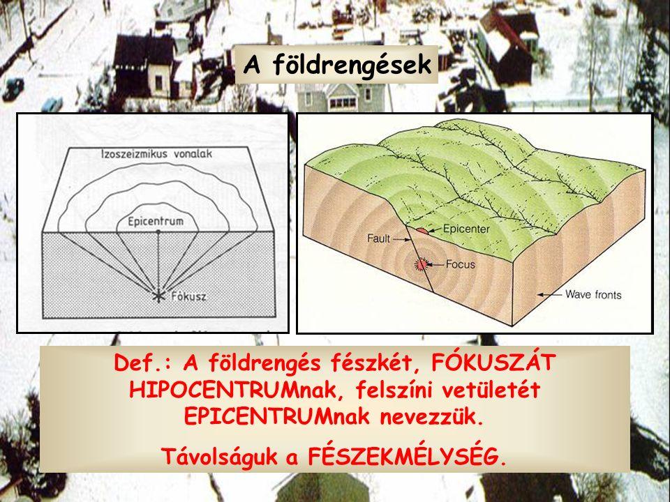 Def.: A földrengés fészkét, FÓKUSZÁT HIPOCENTRUMnak, felszíni vetületét EPICENTRUMnak nevezzük. Távolságuk a FÉSZEKMÉLYSÉG. A földrengések