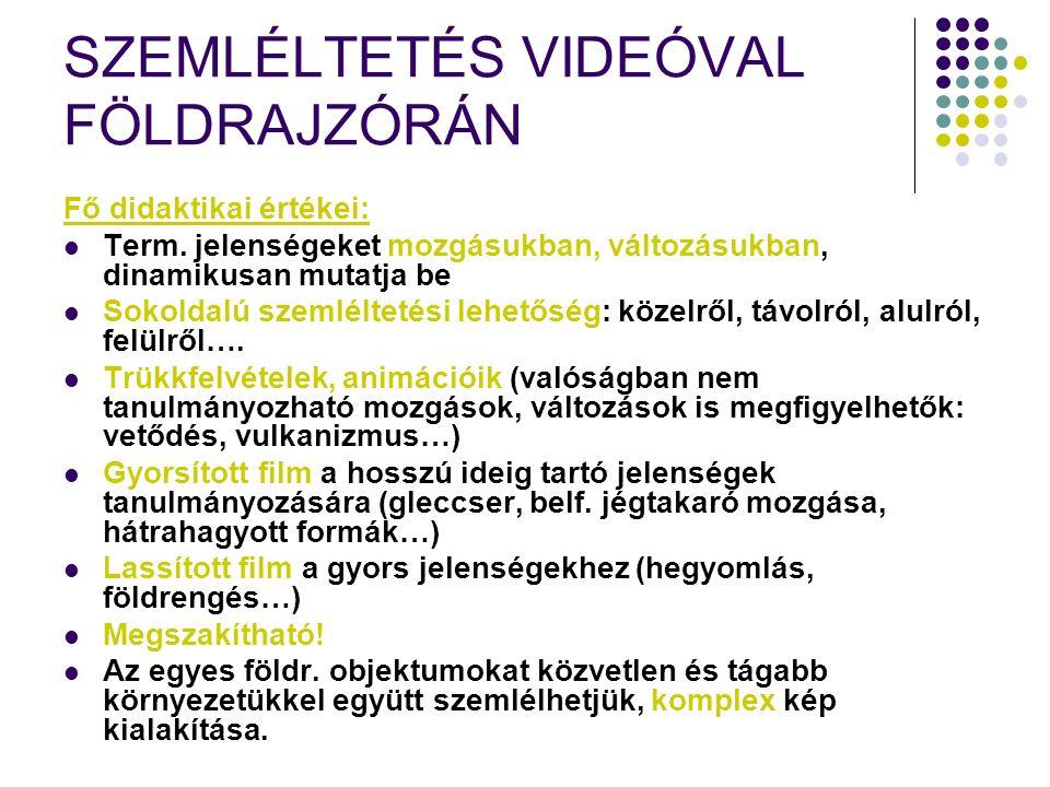 SZEMLÉLTETÉS VIDEÓVAL FÖLDRAJZÓRÁN Fő didaktikai értékei: Term.