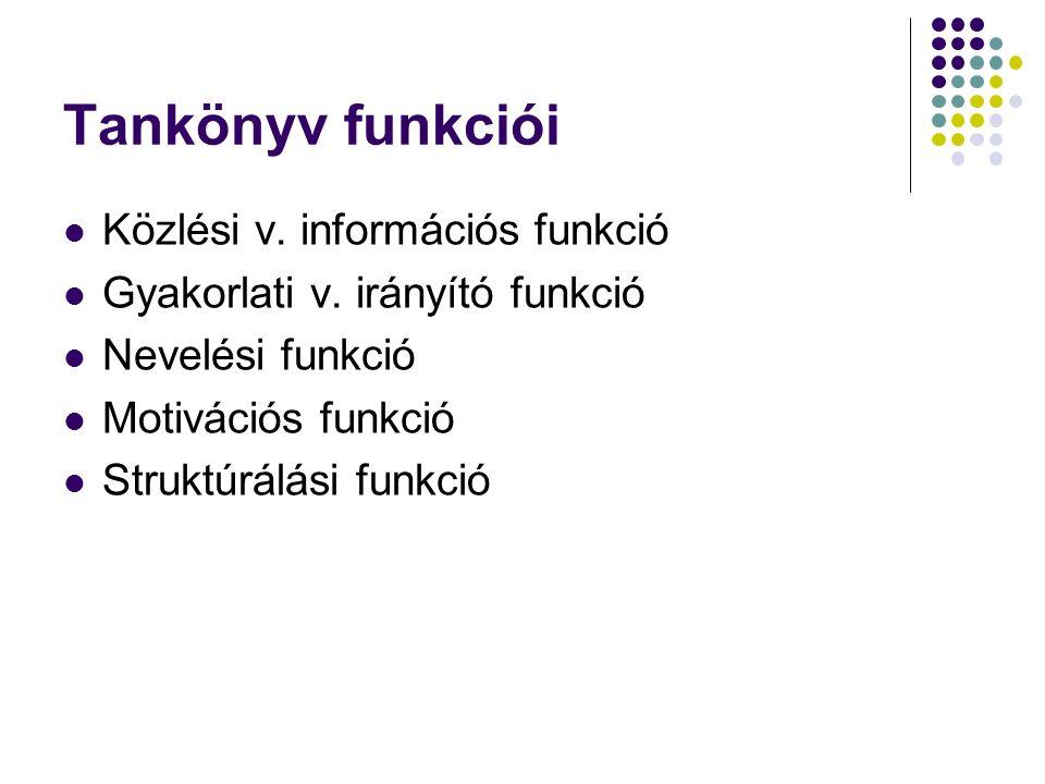 Tankönyv funkciói Közlési v. információs funkció Gyakorlati v.