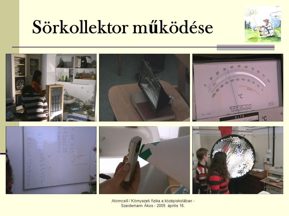 Atomcsill / Környezeti fizika a középiskolában - Szeidemann Ákos - 2009. április 16. Sörkollektor m ű ködése
